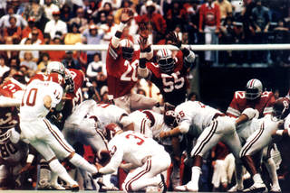 THE Kick: OU kicker Uwe von Schamann kicks a 41-yard field goal to defeat Ohio State in 1977 in the schools' first meeting. (Photo provided)