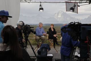 FILE - In this Aug. 31, 2012, file photo, Diane Swonk, center right, chief economist and senior managing director of Mesirow Financial, is interviewed on on a CNBC television set at Grand Teton National Park near Jackson Hole, Wyo. (AP Photo/Ted S. Warren) Ted S. Warren - AP