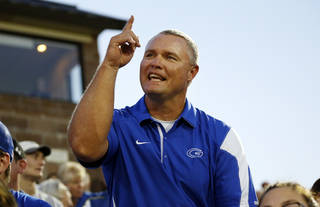 REACTION: Guthrie head coach Rafe Watkins reacts after a Bluejay carry goes for no gain during a high school football game between Guthrie and Guymon at Jelsma Stadium in Guthrie, Okla., Friday, Sept. 21, 2012. Watkins has watched the last 8 games from the stands as he served a suspension dating back to last year. Photo by Nate Billings, The Oklahoman