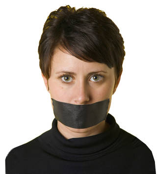 Woman with her mouth taped shut