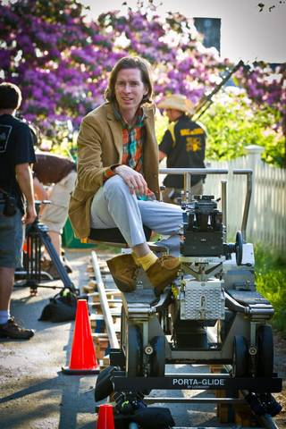 """Director Wes Anderson on the set of """"Moonrise Kingdom."""""""