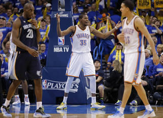 Oklahoma City's Kevin Durant (35) reacts to a foul called on the Thunder during the second round NBA playoff basketball game between the Oklahoma City Thunder and the Memphis Grizzlies at Chesapeake Energy Arena in Oklahoma City, Sunday, May 5, 2013. Photo by Chris Landsberger, The Oklahoman