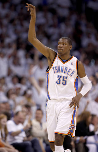 Oklahoma City's Kevin Durant celebrates during the NBA basketball game between the Los Angeles Lakers and the Oklahoma City Thunder in the first round of the NBA playoffs at the Ford Center in Oklahoma City, Saturday, April 24, 2010. Photo by Sarah Phipps, The Oklahoman