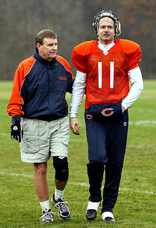 Terry Shea, left, with Jeff George and the Chicago Bears in 2004. AP ARCHIVE PHOTO