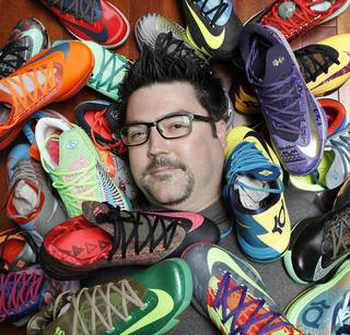 Christopher McCord and his complete collection of Nike KD 6 shoes Sunday, August 31, 2014. Photo by Doug Hoke, The Oklahoman