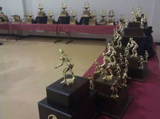 Trophies on display at the Perry wrestling reunion. PHOTO BY RYAN ABER, THE OKLAHOMAN