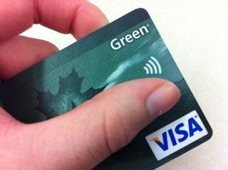 A credit card with an embedded radio frequency identification (RFID) chip is shown. Photo provided Globalnews.ca