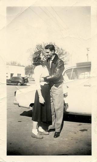 Top, left: Bob and Barbara (Case) Pettis embrace in the spring of 1951, before they got married.
