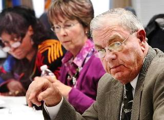 In foreground, board member Herb Rozell. In background, Betsy Maybry and Gayle Miles-Scott, far left. State Superintendent Janet Barresi conducted the first meeting of the state board of education since she assumed her post earlier this month. The meeting, in the Ralph Hodges Building, near the state Capitol, on Thursday, January 27, 2011, became contentious at times as board members and Barresi exchanged verbal barbs as to how the business of the board and the superintendent's office should be run. Photo by Jim Beckel, The Oklahoman