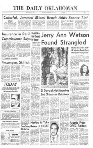 The Oklahoman reported on the discovery of Jerry Ann Watson in the Dec. 31, 1975, edition, shown above.