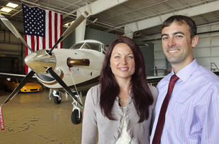 Heather and Drew Gomer are shown at Sundance Airpark in Yukon. Heather has started an aviation business. Drew is starting a business later this year. PHOTO BY DAVID MCDANIEL, THE OKLAHOMAN David McDaniel
