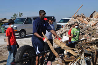Ekpe Udoh returned home to Oklahoma to help with tornado relief efforts on Saturday, June 4. PHOTO PROVIDED