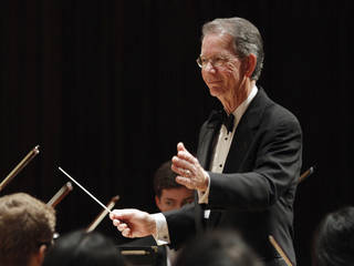 John E. Clinton conducts for a Winter Concert performance by the Oklahoma Youth Orchestra.