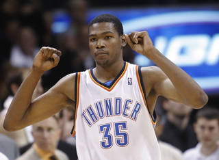 Oklahoma City Thunder guard Kevin Durant reacts as Oklahoma City defeats the Charlotte Bobcats 84-81 in an NBA basketball game in Oklahoma City, Friday, April 10, 2009. Durant had 20 points in the victory. (AP Photo/Sue Ogrocki)