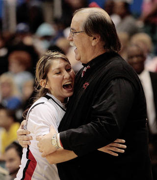 Jenna Plumley, left, has started all 33 games and is averaging 14.4 points per game for Lamar and coach Larry Tidwell, right. AP PHOTO