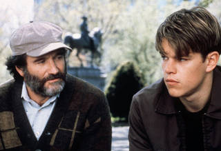 """Robin Williams, left, and Matt Damon appear in a scene from the movie """"Good Will Hunting."""" Williams won a best supporting actor Oscar for his turn as an empathetic therapist in the film. AP File Photo GEORGE KRAYCHYK AP/MIRAMAX"""