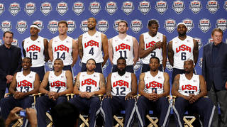 Coach Mike Krzyzewski, left, and USA Basketball chairman Jerry Colangelo, right, stand with the 12 players named to the U.S. men's basketball team, Saturday, July 7, 2012, in Las Vegas. From left in front are Chris Paul, Russell Westbrook, Deron Williams, James Harden, Andre Iguodala and Kobe Bryant. At rear are Carmelo Anthony, Blake Griffin, Tyson Chandler, Kevin Love, Kevin Durant and LeBron James. (AP Photo/Las Vegas Review-Journal, Jason Bean) LOCAL TV OUT LOCAL INTERNET OUT LAS VEGAS SUN OUT ORG XMIT: NVLAS108