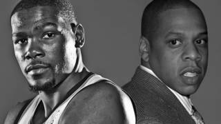 The Thunder's Kevin Durant, left, is reportedly joining forces with Jay-Z, the rap superstar turned business mogul who recently started Roc Nation Sports, an agency with a small but growing base of clients. Photos from the Oklahoman and AP Archives; Photo illustration by Hayley Riggs McGhee, The Oklahoman