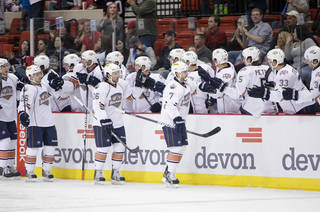 AHL HOCKEY: October 21, 2011: The Oklahoma City Barons play the Grand Rapids Griffins in an American Hockey League game at the Cox Convention Center in Oklahoma City.
