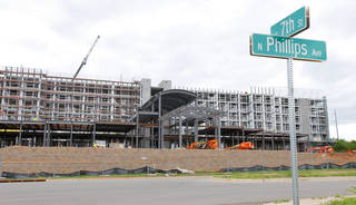 Construction is expected to be complete this fall on an Embassy Suites hotel at NE 7 and Phillips Avenue in Oklahoma City. Photo by Paul B. Southerland, The Oklahoman PAUL B. SOUTHERLAND
