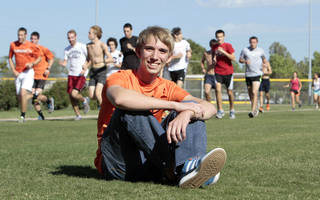Patrick Ahearn, a Norman High runner who lost part of his leg in a jet ski accident last summer, is returning to the track on Friday and will compete in the 400-meter run at a track meet at Putnam City High School. PHOTO BY STEVE SISNEY, The Oklahoman STEVE SISNEY