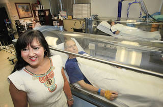 Dr. Howell in the Hyperbaric oxygen therapy room at Norman Regional, Monday, August 27, 2012. Photo By David McDaniel/The Oklahoman