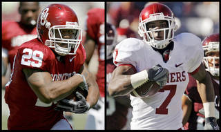 Last season, Oklahoma running backs Chris Brown, left, and DeMarco Murray became the first tandem in Big 12 history to rush for more than 1,000 yards each in a season. Photos by Bryan Terry and Nate Billings, The Oklahoman