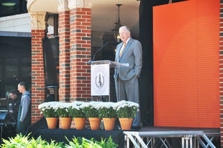 OKLAHOMA STATE UNIVERSITY: T. Boone Pickens addresses the audience and discusses his contributions to the OSU Branding Success campaign during an announcement on Wednesday, April 24, 2013. The campaign exceeded its $1 billion goal, OSU President Burns Hargis said. SAMANTHA VICENT/For the Tulsa World ORG XMIT: DTI1304241300065693