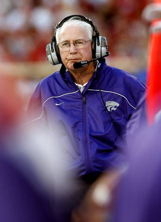 Kansas State head coach Bill Snider walks the sidelines during a college football game between the University of Oklahoma Sooners (OU) and the Kansas State University Wildcats (KSU) at Gaylord Family-Oklahoma Memorial Stadium, Saturday, September 22, 2012. Photo by Steve Sisney, The Oklahoman