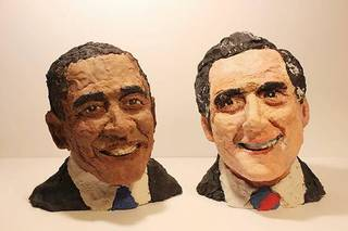 """With these Play-Doh sculptures of Barak Obama and Mitt Romney, Ian Williams was named """"Official Play-Doh Artist of the Year."""" PHOTO PROVIDED."""