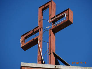 A steel cross that sat atop Mercy Hospital Logan County went missing from an Oklahoma City sign shop where it was being repaired. PHOTO PROVIDED BY MERCY