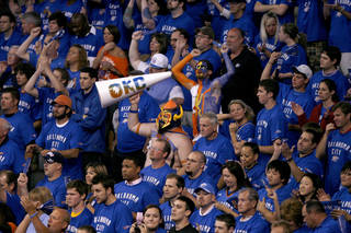 Thunder fans cheer during game 4 of the Western Conference Finals in the NBA basketball playoffs between the Dallas Mavericks and the Oklahoma City Thunder at the Oklahoma City Arena in downtown Oklahoma City, Monday, May 23, 2011. Photo by Bryan Terry, The Oklahoman
