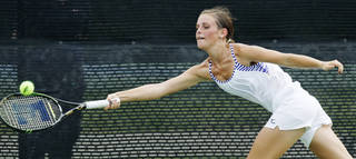 Enid's Kathryn Dillingham competes against Edmond North's Annie Hayes in a Class 6A #1 Singles match during the girls state high school tennis tournament at the Oklahoma City Tennis Center in Oklahoma City, Friday, May 4, 2012. Photo by Nate Billings, The Oklahoman