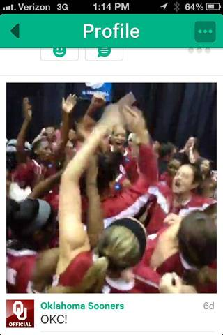 The University of Oklahoma Athletic Department is now using the Vine mobile application for iPhones and iPod Touches to show looping video glimpses of its teams behind the scenes, as seen in this screen shot.