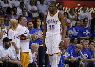 Oklahoma City's Kevin Durant (35) reacts after a play during Game 2 in the second round of the NBA playoffs between the Oklahoma City Thunder and the Memphis Grizzlies at Chesapeake Energy Arena in Oklahoma City, Tuesday, May 7, 2013. Oklahoma City lost 99-93. Photo by Bryan Terry, The Oklahoman
