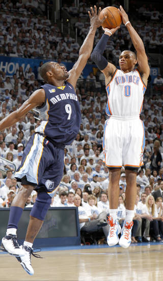 Oklahoma City's Russell Westbrook (0) shoots over Tony Allen (9) of Memphis during game five of the Western Conference semifinals between the Memphis Grizzlies and the Oklahoma City Thunder in the NBA basketball playoffs at Oklahoma City Arena in Oklahoma City, Wednesday, May 11, 2011. Photo by Bryan Terry, The Oklahoman