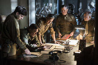 "From left, Sam Epstein, John Goodman, George Clooney, Matt Damon and Bob Balaban are shown in a scene from ""The Monuments Men."" AP Photo Claudette Barius - AP"