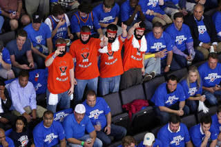 James Harden fans wear distinctive T-shirts and fake beards during the Oklahoma City Thunder game vs. the Los Angeles Lakers on April 22, 2010. HUGH SCOTT - THE OKLAHOMAN