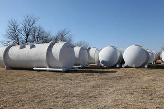 Google Inc. has donated 30 water-storage tanks to county officials and fire departments in Mayes County, home of its Oklahoma data center. Each tank weighs more than 15,000 pounds and is 10 feet tall by 30 feet long. Provided photo