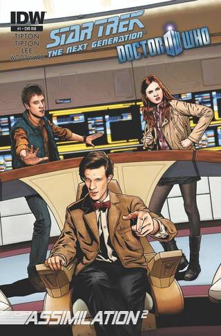 """A variant cover for """"Star Trek: The Next Generation/Doctor Who: Assimilation2."""" IDW Publishing."""