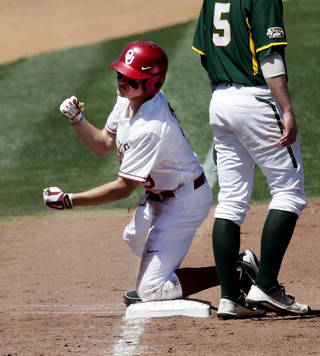 Oklahoma's Craig Aikin is safe at third on a triple as the University of Oklahoma Sooner (OU) baseball team plays the Baylor Bears in college baeball at L. Dale Mitchell Park on May 3, 2014 in Norman, Okla. Photo by Steve Sisney, The Oklahoman