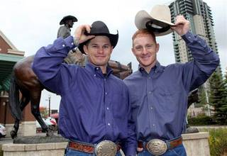 Jet and Cord McCoy are shown outside BMO Centre at Stampede Park, Calgary, Alberta, in a Calgary Stampede news conference June 15, 2010, in Calgary. Photo by Mike Ridewood, Provided by the Calgary Stampede Mike Ridewood
