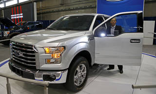 Ford's Brandt Coultas talks Wednesday about the new features on the 2015 Ford F-150 XLT, which will be on display at the upcoming Oklahoma City International Auto Show at State Fair Park. Photos by Bryan Terry, The Oklahoman BRYAN TERRY - THE OKLAHOMAN