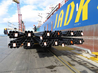 A load of Borusan Mannesman pipe is shown at a port in Turkey. The company is planning to build a $150 million manufacturing plant in the United States, with Oklahoma in the mix as a possible site. Photo provided
