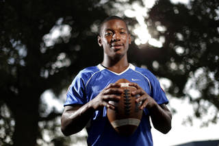 Millwood wide receiver Cameron Batson poses for a portrait for the Super 30 feature series at Millwood High School in Oklahoma City, Tuesday, July 10, 2013. Photo by Bryan Terry, The Oklahoman
