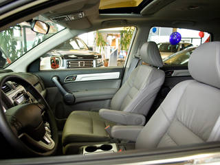 Interior of car in showroom with others