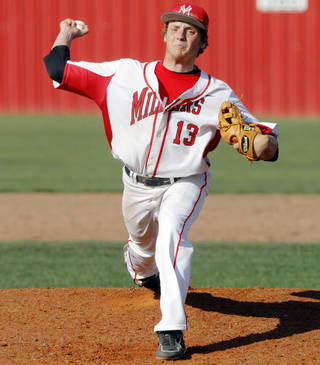 Yukon pitcher Garrett Benge (13) throws a pitch during a high school baseball game between Yukon and Choctaw held in Yukon on Tuesday, April 22, 2014. Photo by KT King, The Oklahoman