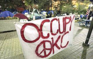Occupy OKC camp in Kerr Park in Oklahoma City, Monday, November 28, 2011. Oklahoma City Police threatened to arrest the protesters at 11 p.m. Monday. Photo by David McDaniel, The Oklahoman