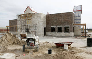 Construction proceeds on a Chicken Express on the south side of Danforth Road west of Kelly Avenue in Edmond. Photo by PAUL HELLSTERN, THE OKLAHOMAN