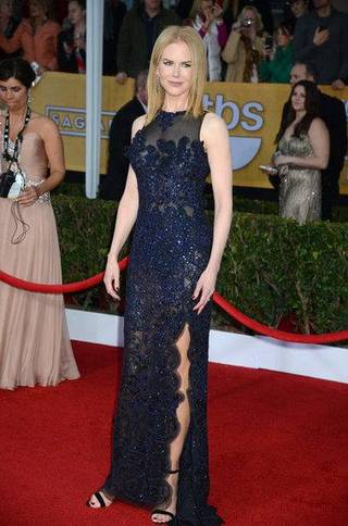 At the recent SAG Awards, Nicole Kidman chose a Vivienne Westwood gown with black-and-navy blue floral embroidery.